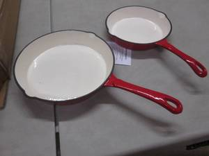 2 Enameled Red Cast Iron Skillets...
