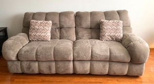 Very Soft and Comfortable Gray Upholstered Sofa