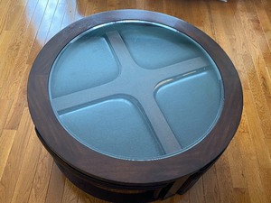 Round Coffee Table with Tuck-In Bench Seating