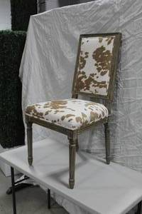 "Wood Dining Chair Padded Cow Pattern 25""Wx19""Dx40""H"
