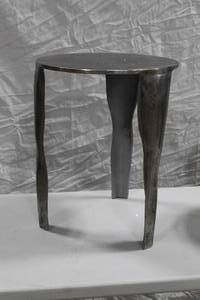 "Forged Metal Clyde End Table 3-leg 16""Dx20-1/2""H"