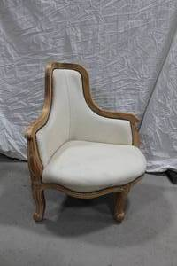 "Wood Formal Dining Corner Arm Chair Padded White 31""Wx131""Dx38""H"