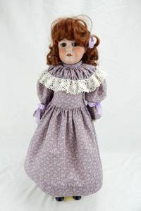 Antique German Bisque Cork Stuffed Armand Marseille Floradora Doll With Stand and Display Case
