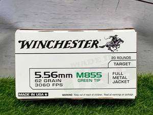 20 Rounds 5.56 Green Tip M855 Ammo Ammunition