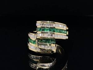 Outstanding 1.90 Carat Natural Emerald and Diamond Ribbon Estate Ring in 14k Yellow Gold; $7,900 Retail