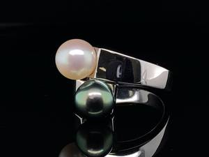 Dazzling High Luster Tahitian and White Pearl Wrap Ring in 18k White Gold; $4,150