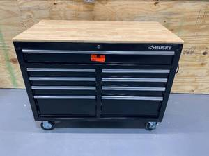 HUSKY 46 in. W 9-Drawer, Deep Tool Chest Mobile Workbench in Gloss Black with Hardwood Top