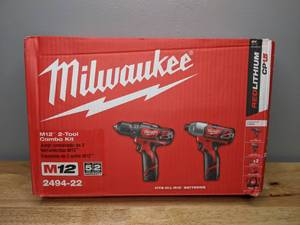 Brand New Milwaukee M12 12-Volt Lithium-Ion Cordless Drill Driver & Impact Driver Combo Kit w/ 1.5Ah Batteries & Charger