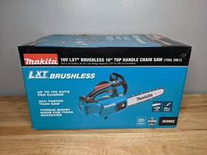 Brand New Makita 18 Volt LXT Lithium-Ion Brushless Cordless Top Handle 10 Inch Chain Saw