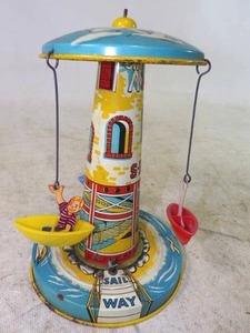 "Antique Unique Art Mfg Co. ""Sail Away"" Tin Wind Up Toy"