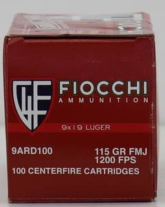 100 Fiocchi 9mm 115gr FMJ Cartridges