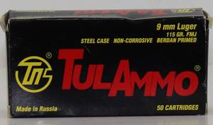 50 Tul Ammo 9mm 115gr FMJ Cartridges