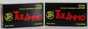 2 Boxes Tul Ammo .223 55gr FMJ 40 Cartridges
