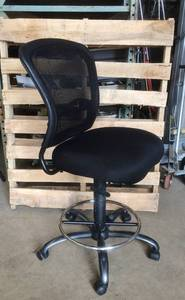 MSRP $500 COE Armless Ergonomic Mesh Back Drafting Laboratory Task Stool Height Adjustable Chair with Comfortably Thick Black Upholstered Seat, Footring and Titanium Steel Base - Excellent Condition!