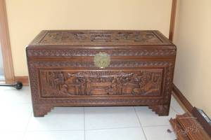 "Carved Wood Decorative Chest with Brass Clasp 35""Lx18""Wx19""H"