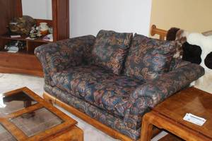 Wood Frame Couch and Love Seat