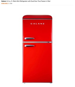GALANZ 4.0 cu. ft. Retro Mini Refrigerator with Dual Door True Freezer in Red SEE PICS! OPEN BOX COMPLETE
