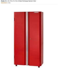 HUSKY 36 in. W x 72 in. H x 18 in. D Steel Tall Garage Cabinet in Red NEW SEE PICS!