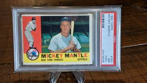 1960 Topps Mickey Mantle Baseball Card; PSA 7