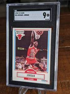 1990 - 1991 Fleer #26 Michael Jordan Chicago Bulls Card; SGC 9 Mint