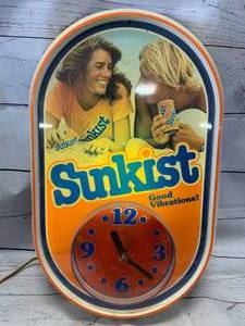 "Vintage Sunkist Light Clock Sign Approximately 13"" x 22"""