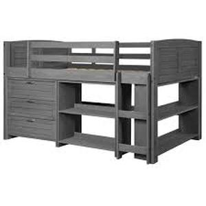 Donco Kids Antique Grey Twin Louver Low Loft Bed with 3-Drawer Chest and Bookshelf not used see pictures