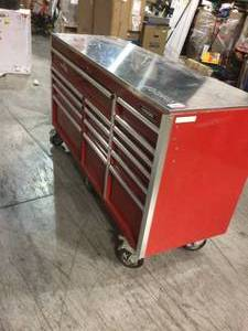 "hUSKY Red tool box 72""see damage"