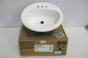 Bootz Industries Laurel Round Drop-In Bathroom Sink in White