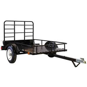 Detail K2 4 ft. x 6 ft. 1,295 lbs. Payload Capacity Open Rail Steel Utility Flatbed Trailer, MMT4X60