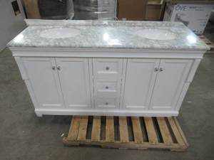 Home Decorators Collection Naples 61 in. W x 22 in. D Vanity in White with Engineered Marble Vanity Top with White Sink NAWA6021D-WWH
