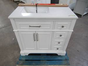 Home Decorators Collection Melpark 36 in. W x 22 in. D Bath Vanity in White with Cultured Marble Vanity Top in White with White Sink Melpark 36W