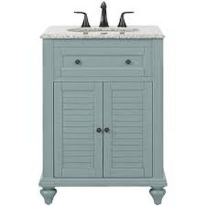 Home Decorators Hamilton Shutter 25 in. W x 22 in. D Bath Vanity in Sea Glass with Granite Vanity Top in Grey not used see pictures