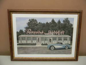 "DANA FORRESTER  - ""ROSIE'S DINER"" - HAND SIGNED AND NUMBERED LIMITED EDITION -  #23 OF 700 - PROFESSIONALLY FRAMED! - GREAT PIECE! - APPROX 20"" BY 15"" - SEE PICTURES!"