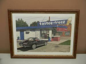 "DANA FORRESTER  - ""TASTEE-FREEZ"" - HAND SIGNED AND NUMBERED LIMITED EDITION -  #72 OF 700 - PROFESSIONALLY FRAMED! - GREAT PIECE! - APPROX 20"" BY 15"" - SEE PICTURES!"