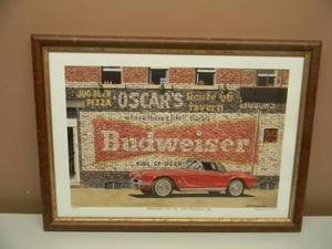 "DANA FORRESTER  - ""OSCAR'S ROUTE 66 TAVERN"" - HAND SIGNED AND NUMBERED LIMITED EDITION -  #39 OF 700 - PROFESSIONALLY FRAMED! - GREAT PIECE! - APPROX 20"" BY 15"" - SEE PICTURES!"