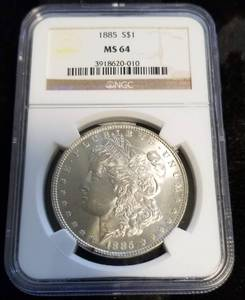 1885 MORGAN SILVER DOLLAR MS64 NGC