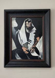 Large original painting, rendering of Marc Chagall's (The Praying Jew) in stunning frame.