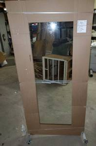 "Clear Glass 36"" wide x 77"" tall w/wheels"