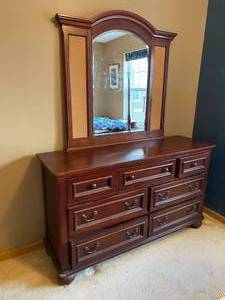 Seven Drawer Lowboy Dresser with Mirror