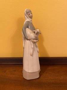 Retired Lladro Woman with Sheep Figurine