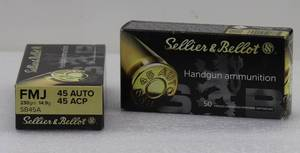 100 Sellier & Bellot 45ACP/AUTO 230gr FMJ Cartridges