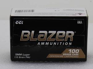 100 Blazer 9MM 115gr FMJ Cartridges