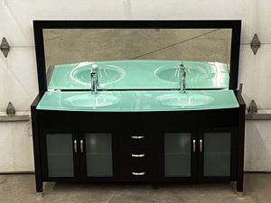 New Double Sink Vanity with Mirror Dark Espresso x010