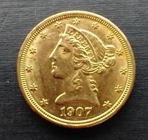 1907 Liberty Head $5 Gold Coin