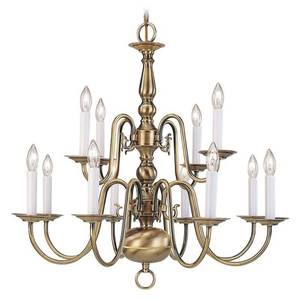 Livex Lighting Providence 12-Light Antique Brass Chandelier, 5012-01