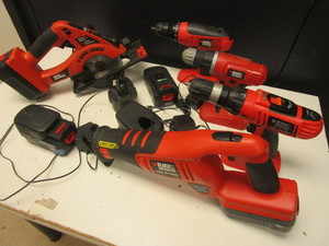 BLACK & DECKER CORDLESS DRILLS, RECIPROCATING SAW, CORDLESS SAW, 18V RECHARGEABLE BATTERIES