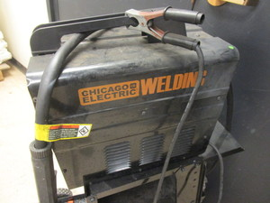 CHICAGO ELECTRIC WELDING 90-AMP FLUX WIRE WELDER, ON CART, WELDER MASK