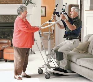 MSRP $1200 Invacare Get-U-Up Hydraulic Sit To Stand-Up Patient Lift 350 lb. Weight Capacity With New In Package Sling - Great Condition!  See Youtube For How This Great Lift Works!