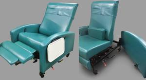 MSRP $3500 WINCO Extra-Wide Clinical Care Recliner Resident Patient Recovery Geri Chair - WOW HEAT & MASSAGE! Dual Swingaway Arms (Easy Wheelchair Access For Patients) 500lb Capacity Flip Up Trays Both Sides - Great Working Condition!