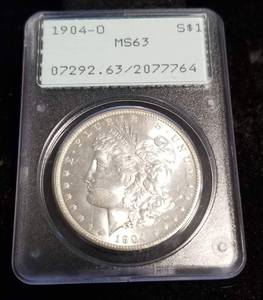 1904-O MORGAN SILVER DOLLAR MS63 PCGS 1st GENERATION HOLDER
